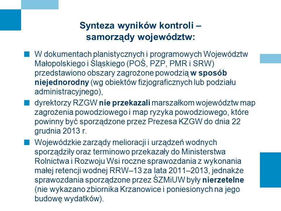 Synteza wyników kontroli – samorządy województw: