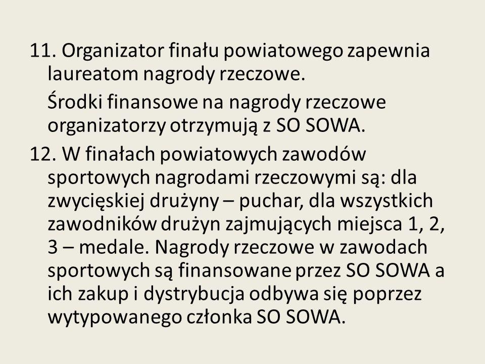 11. Organizator finału powiatowego zapewnia laureatom nagrody rzeczowe.