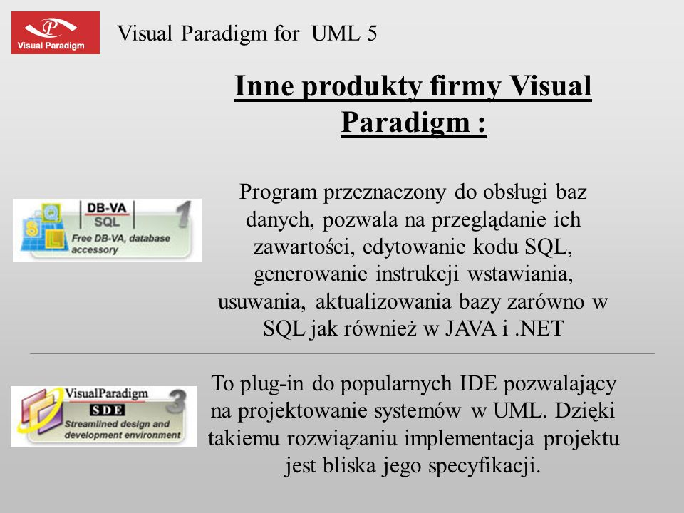 Inne produkty firmy Visual Paradigm :