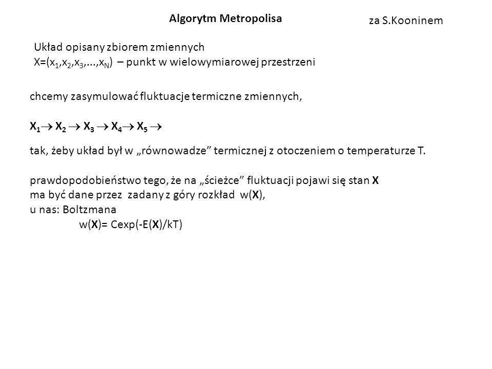 Algorytm Metropolisa za S.Kooninem. Układ opisany zbiorem zmiennych. X=(x1,x2,x3,...,xN) – punkt w wielowymiarowej przestrzeni.