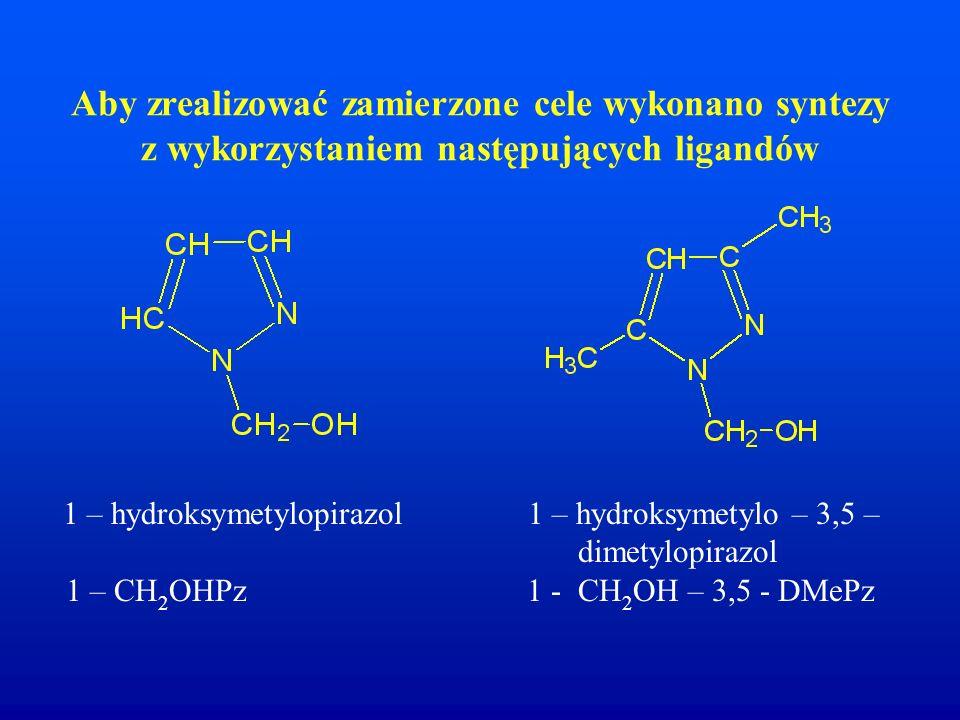 Aby zrealizować zamierzone cele wykonano syntezy z wykorzystaniem następujących ligandów
