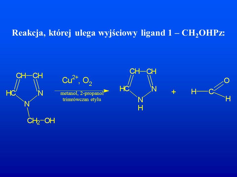 Reakcja, której ulega wyjściowy ligand 1 – CH2OHPz: