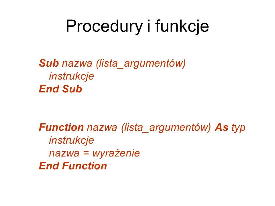 Procedury i funkcje Sub nazwa (lista_argumentów) instrukcje End Sub