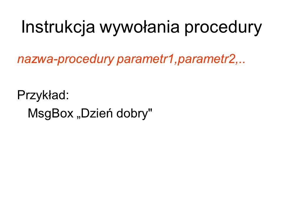 Instrukcja wywołania procedury