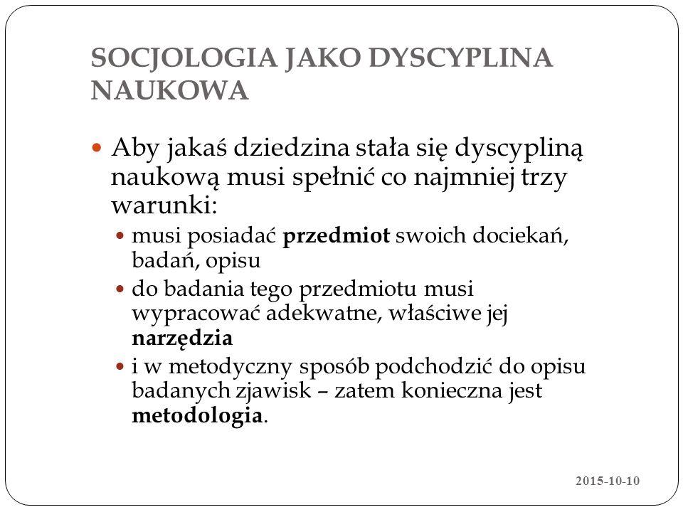 SOCJOLOGIA JAKO DYSCYPLINA NAUKOWA
