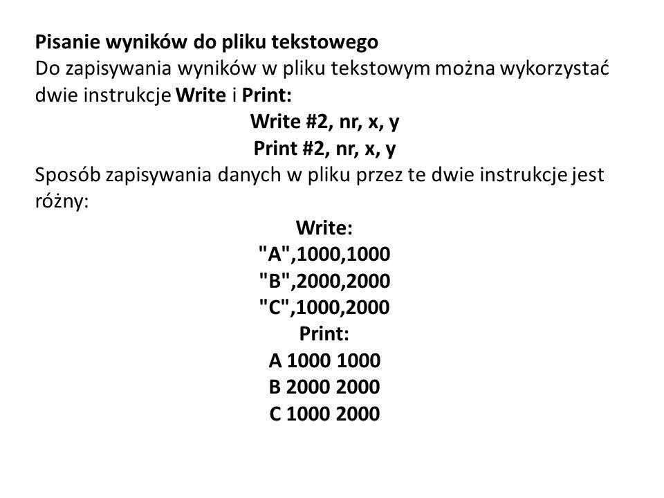 Pisanie wyników do pliku tekstowego