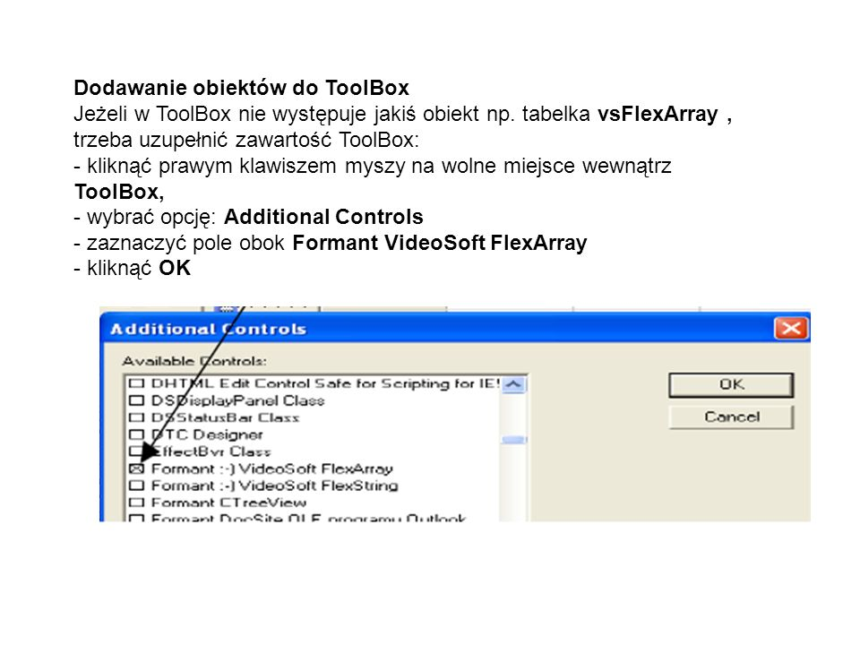 Dodawanie obiektów do ToolBox