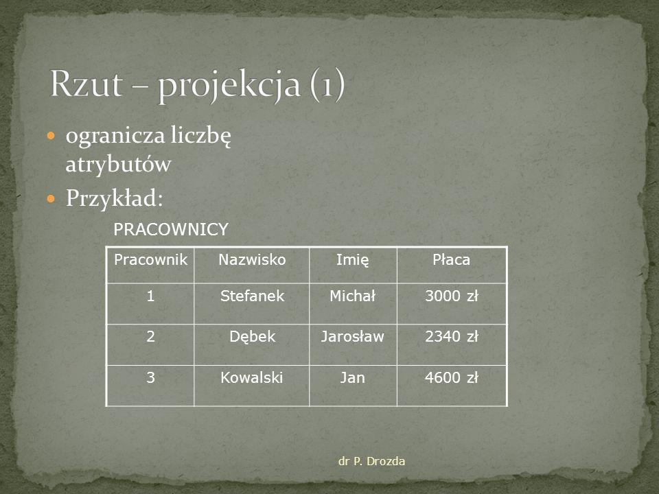 Rzut – projekcja (1) ogranicza liczbę atrybutów Przykład: PRACOWNICY
