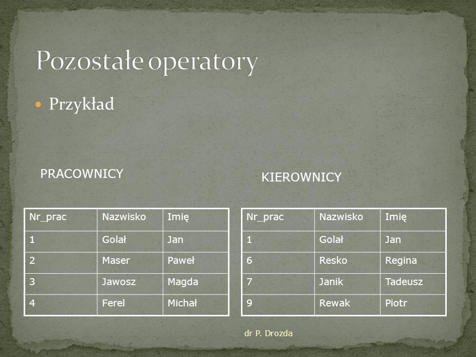 Pozostałe operatory Przykład PRACOWNICY KIEROWNICY Nr_prac Nazwisko