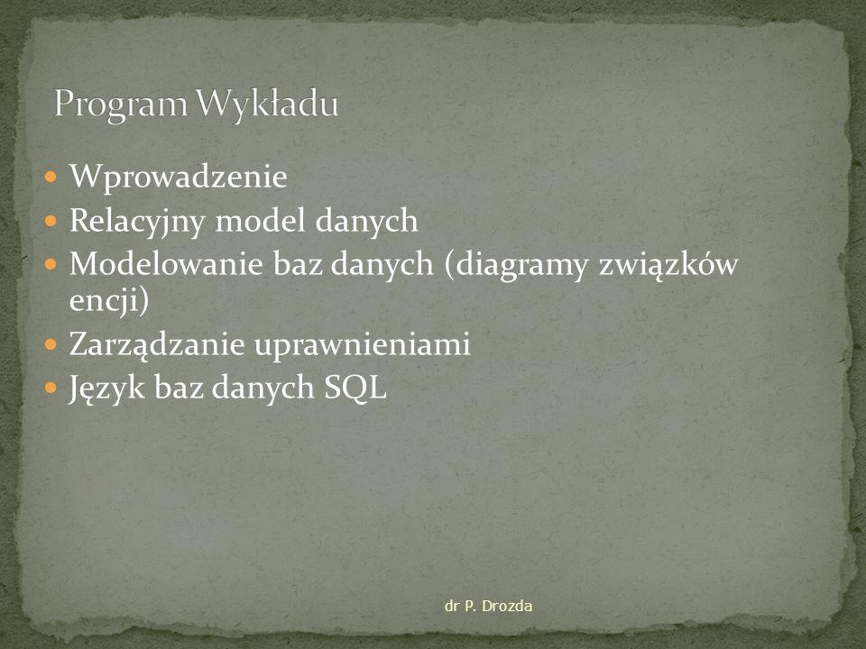 Program Wykładu Wprowadzenie Relacyjny model danych