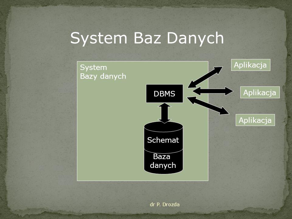 System Baz Danych Aplikacja System Bazy danych DBMS Aplikacja