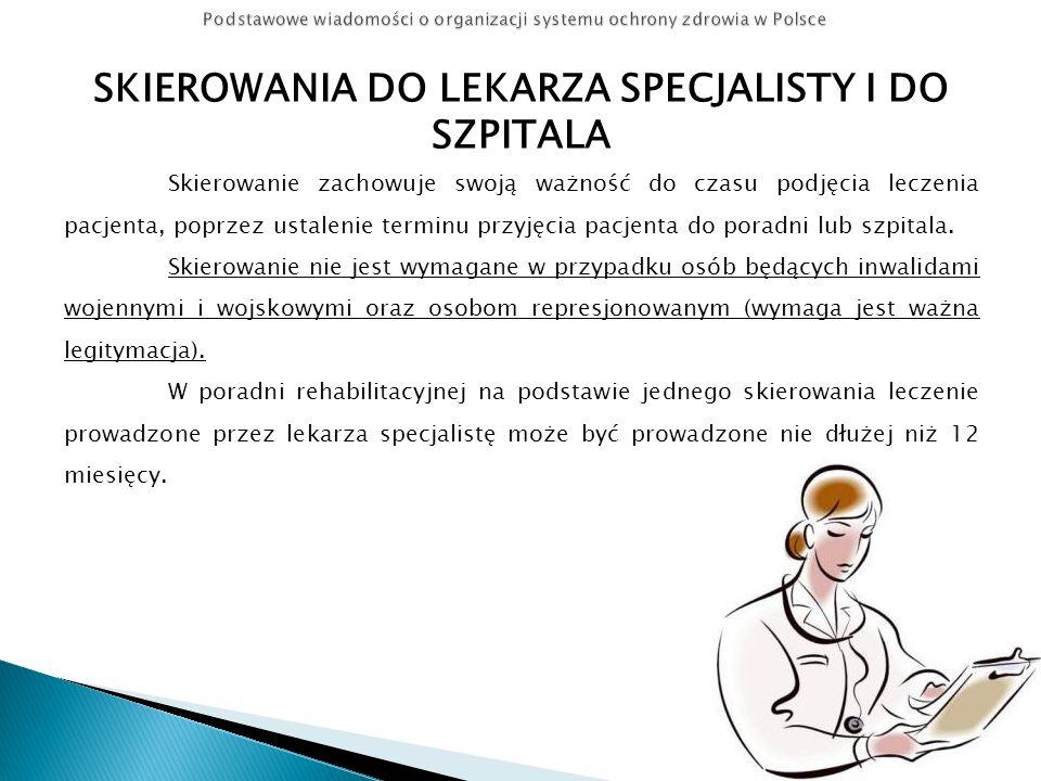 SKIEROWANIA DO LEKARZA SPECJALISTY I DO SZPITALA