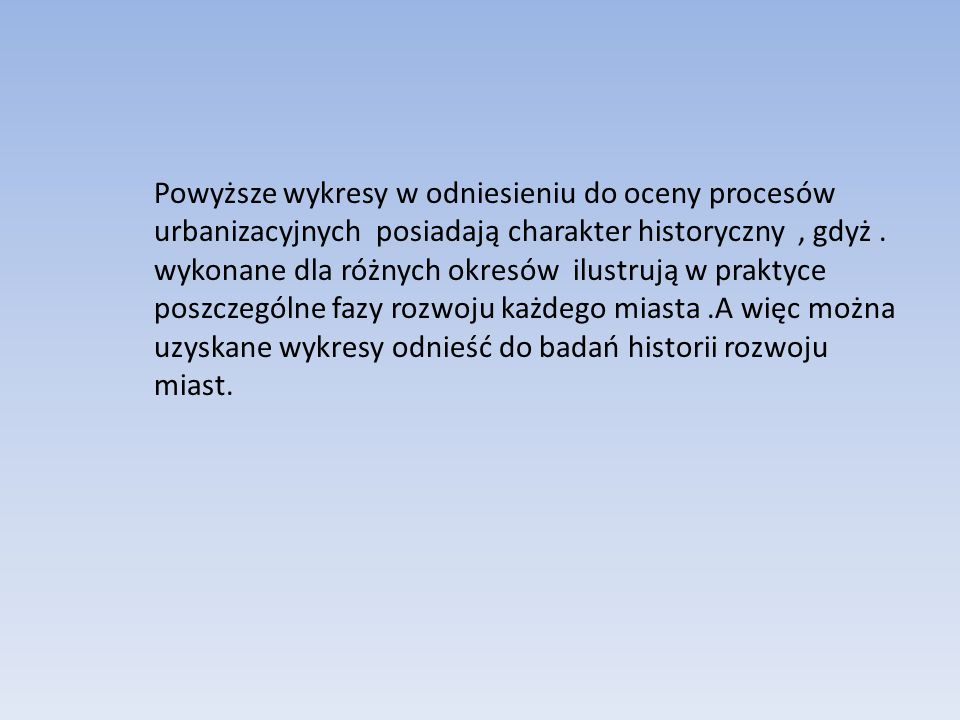 Powyższe wykresy w odniesieniu do oceny procesów urbanizacyjnych posiadają charakter historyczny , gdyż .