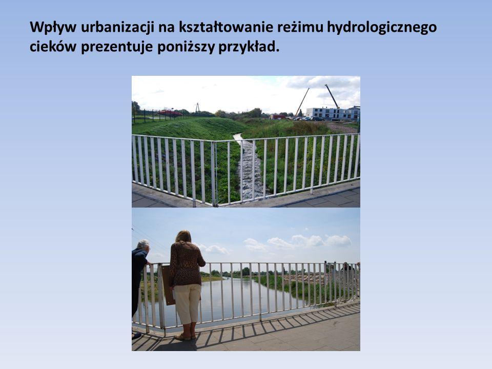 Wpływ urbanizacji na kształtowanie reżimu hydrologicznego cieków prezentuje poniższy przykład.
