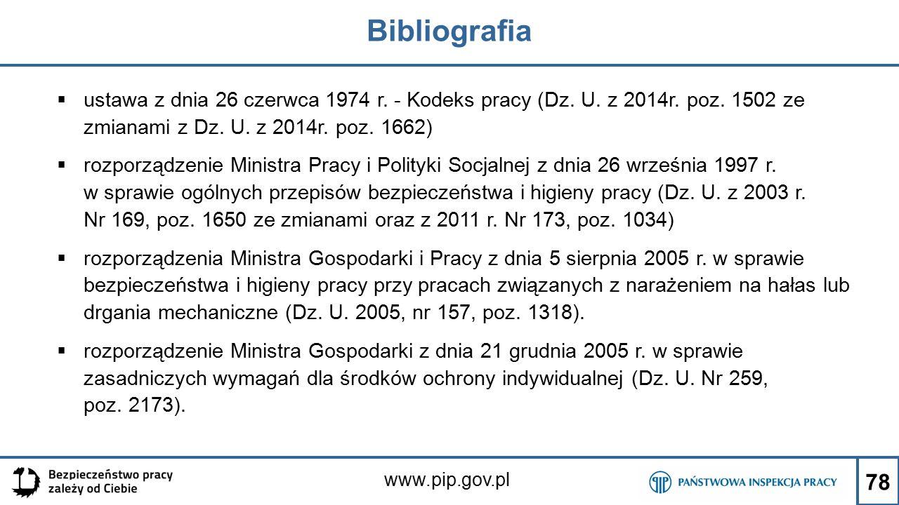 Bibliografia ustawa z dnia 26 czerwca 1974 r. - Kodeks pracy (Dz. U. z 2014r. poz. 1502 ze zmianami z Dz. U. z 2014r. poz. 1662)