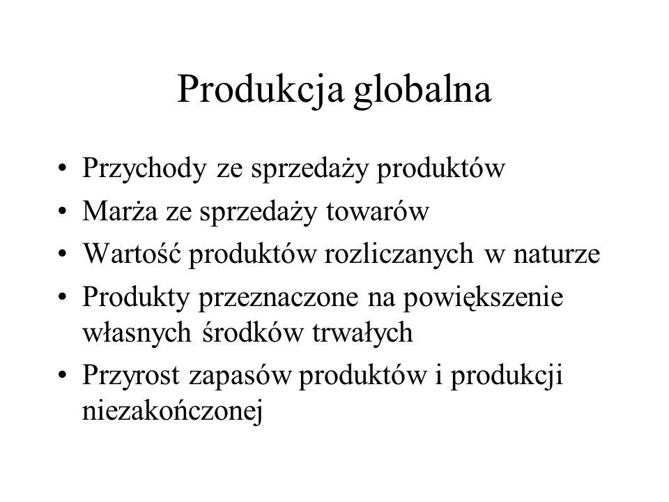 Produkcja globalna Przychody ze sprzedaży produktów