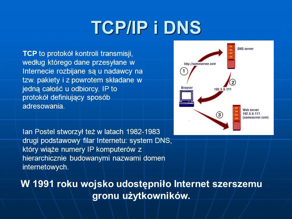 W 1991 roku wojsko udostępniło Internet szerszemu gronu użytkowników.