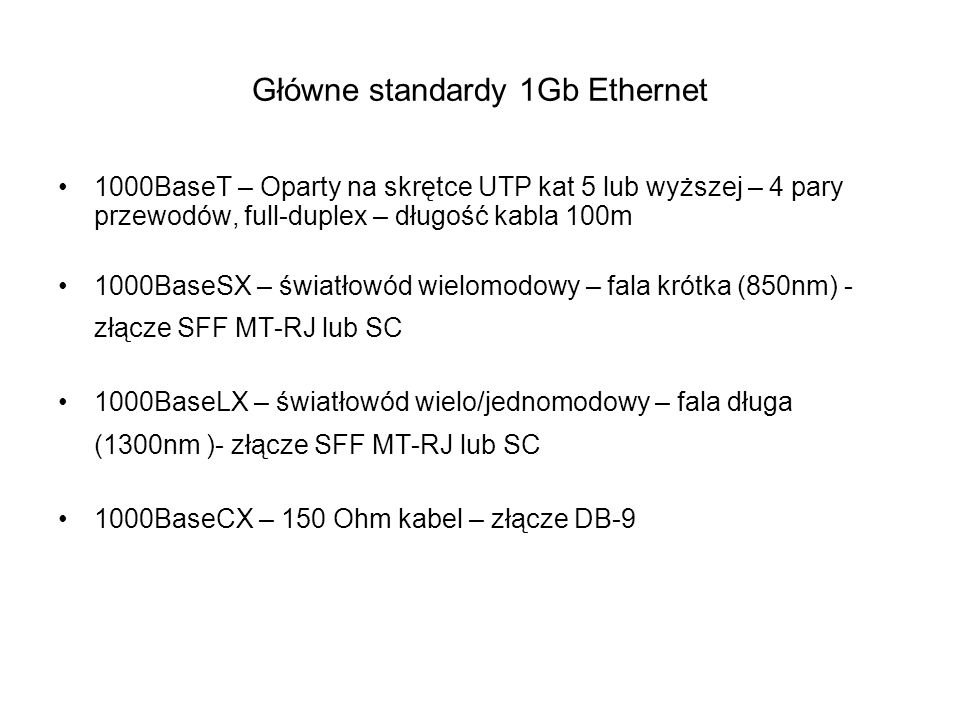 Główne standardy 1Gb Ethernet