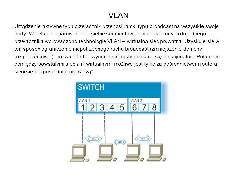 VLAN Urządzenie aktywne typu przełącznik przenosi ramki typu broadcast na wszystkie swoje.