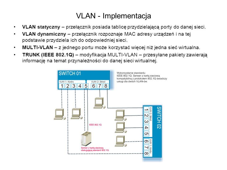 VLAN - Implementacja VLAN statyczny – przełącznik posiada tablicę przydzielającą porty do danej sieci.