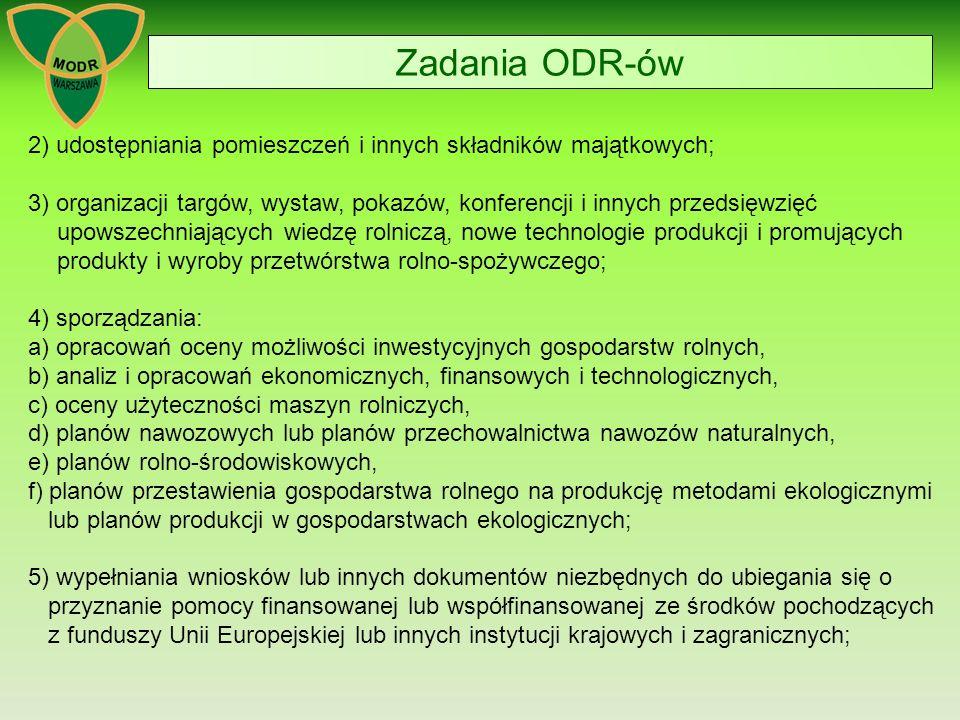 Zadania ODR-ów 2) udostępniania pomieszczeń i innych składników majątkowych;