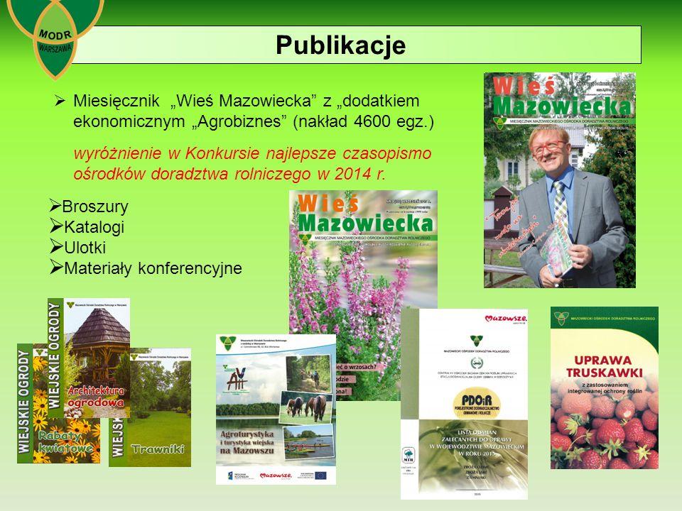"""Publikacje Miesięcznik """"Wieś Mazowiecka z """"dodatkiem ekonomicznym """"Agrobiznes (nakład 4600 egz.)"""