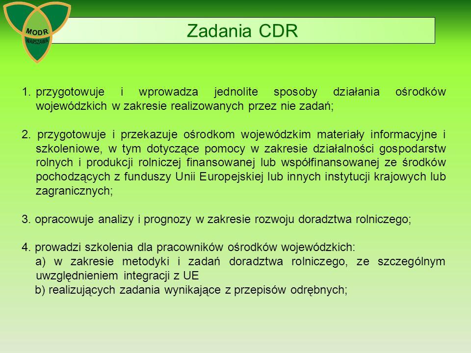 Zadania CDR 1. przygotowuje i wprowadza jednolite sposoby działania ośrodków wojewódzkich w zakresie realizowanych przez nie zadań;