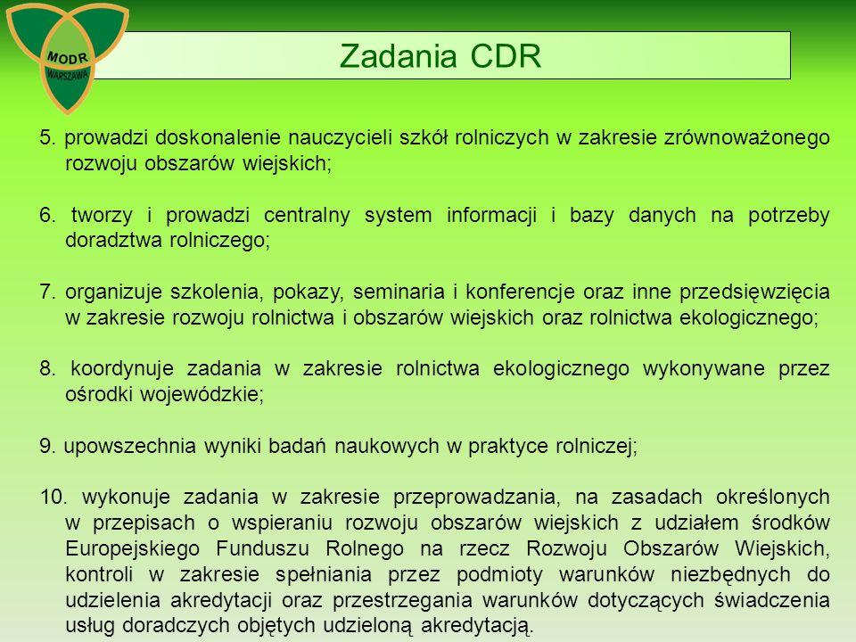 Zadania CDR 5. prowadzi doskonalenie nauczycieli szkół rolniczych w zakresie zrównoważonego rozwoju obszarów wiejskich;
