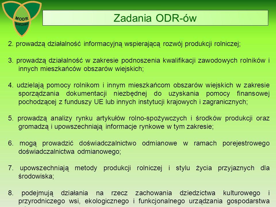 Zadania ODR-ów 2. prowadzą działalność informacyjną wspierającą rozwój produkcji rolniczej;