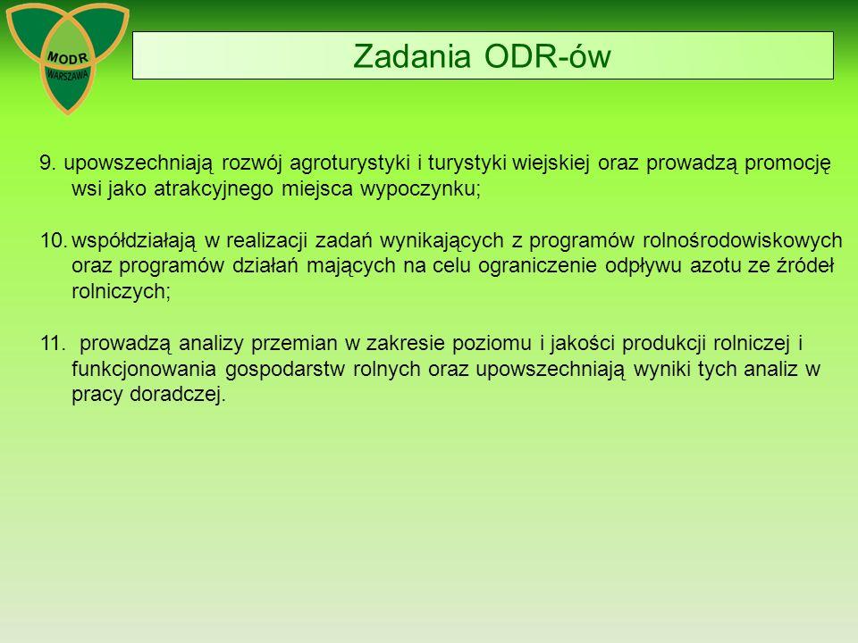 Zadania ODR-ów 9. upowszechniają rozwój agroturystyki i turystyki wiejskiej oraz prowadzą promocję wsi jako atrakcyjnego miejsca wypoczynku;