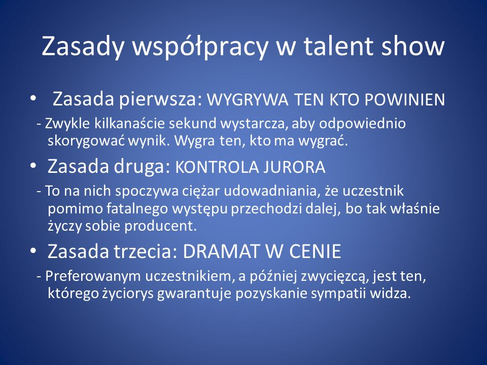 Zasady współpracy w talent show