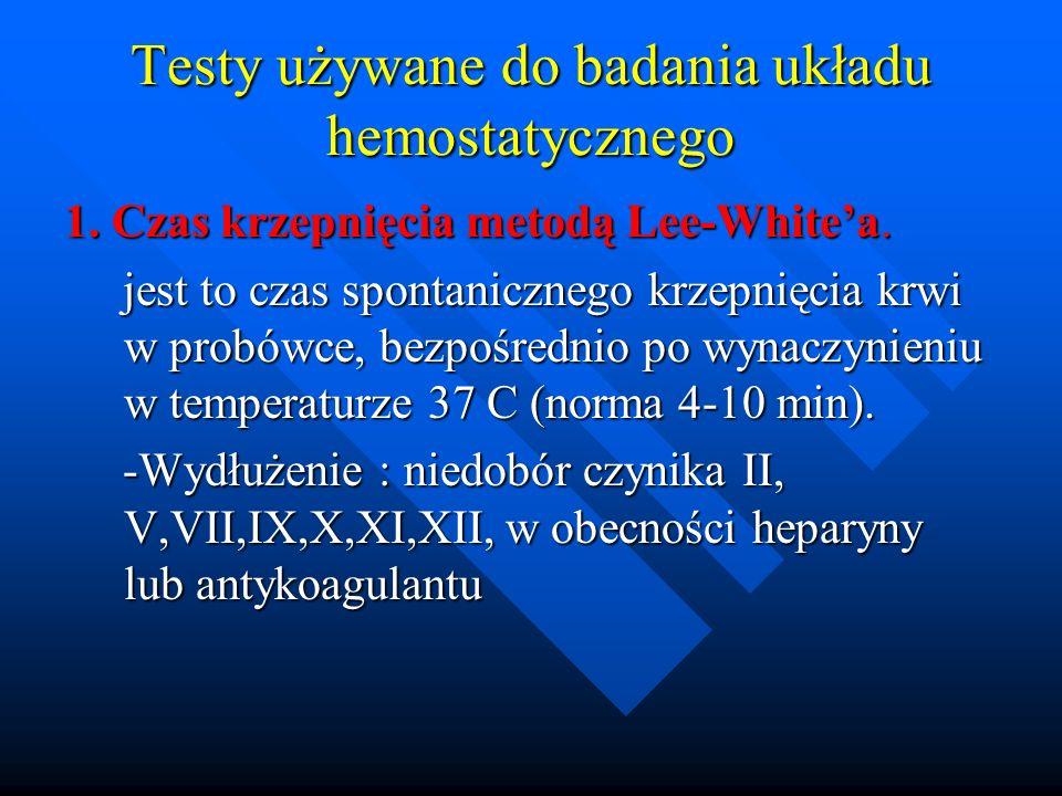 Testy używane do badania układu hemostatycznego