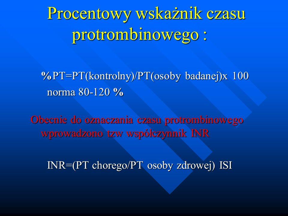Procentowy wskażnik czasu protrombinowego :