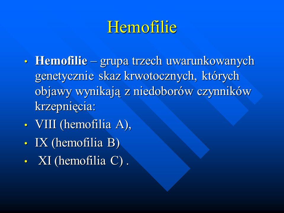 Hemofilie Hemofilie – grupa trzech uwarunkowanych genetycznie skaz krwotocznych, których objawy wynikają z niedoborów czynników krzepnięcia: