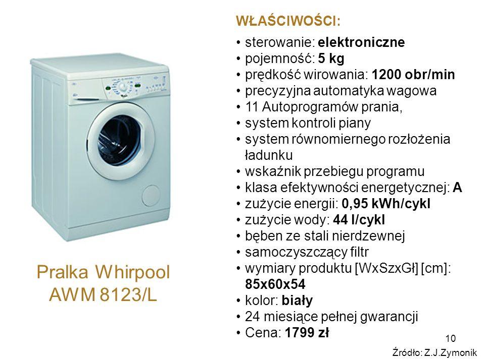 Pralka Whirpool AWM 8123/L WŁAŚCIWOŚCI: sterowanie: elektroniczne