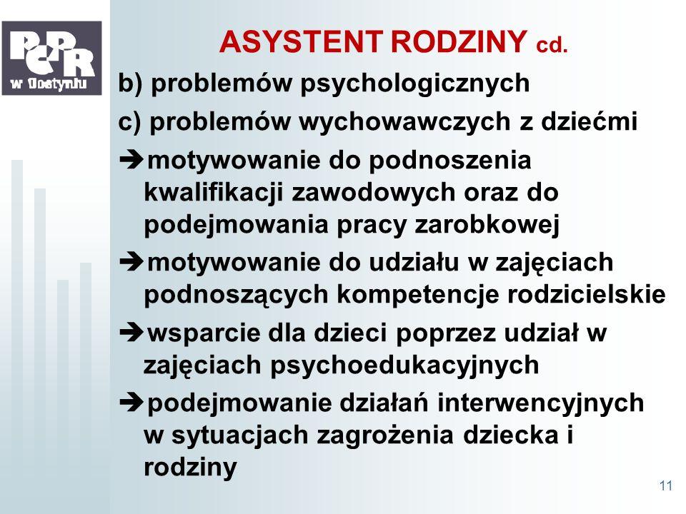 ASYSTENT RODZINY cd. b) problemów psychologicznych