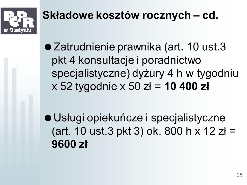 Składowe kosztów rocznych – cd.
