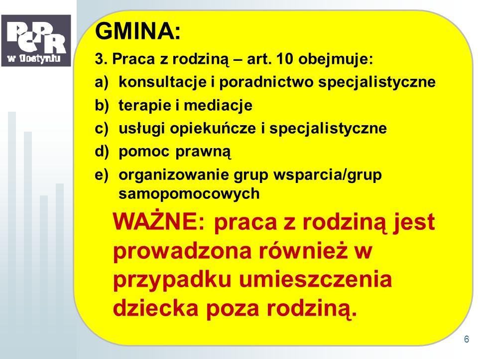 GMINA: 3. Praca z rodziną – art. 10 obejmuje: