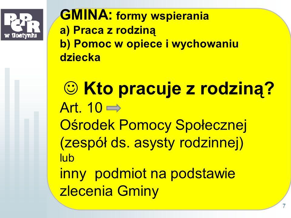 Kto pracuje z rodziną GMINA: formy wspierania Art. 10