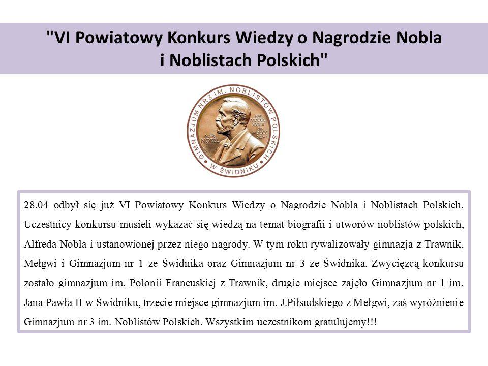 VI Powiatowy Konkurs Wiedzy o Nagrodzie Nobla i Noblistach Polskich