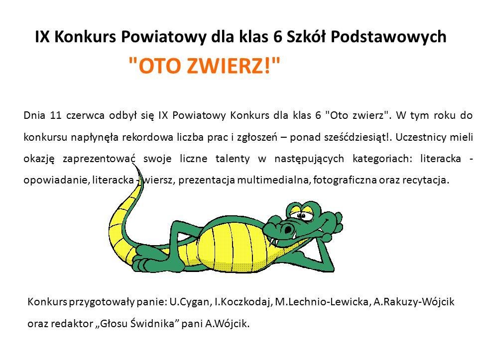 IX Konkurs Powiatowy dla klas 6 Szkół Podstawowych