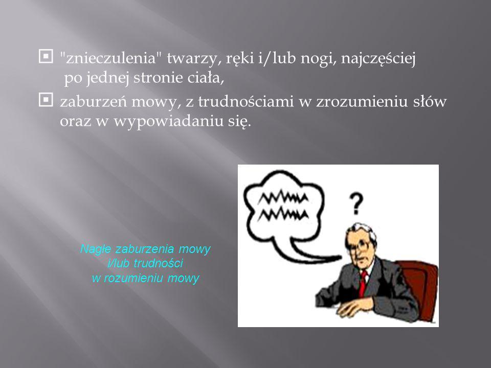 Nagłe zaburzenia mowy i/lub trudności w rozumieniu mowy
