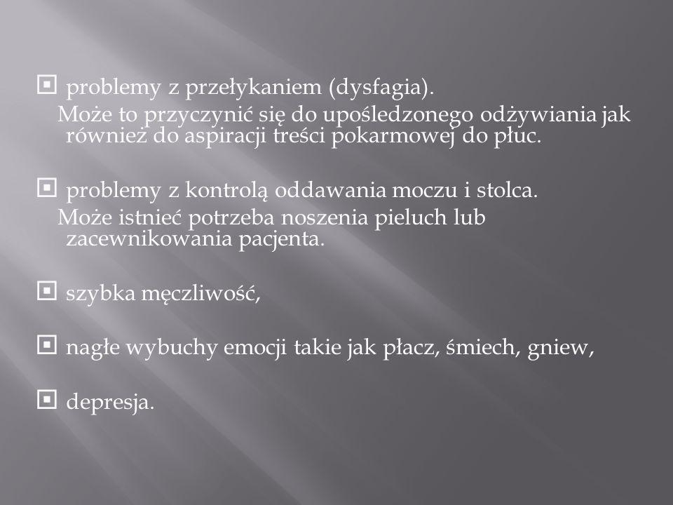 problemy z przełykaniem (dysfagia).