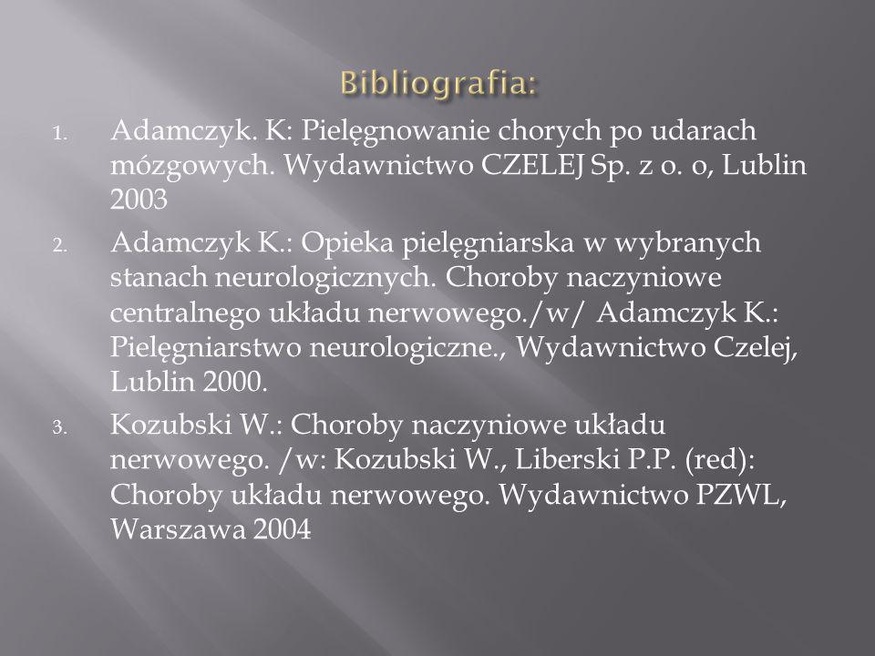 Bibliografia: Adamczyk. K: Pielęgnowanie chorych po udarach mózgowych. Wydawnictwo CZELEJ Sp. z o. o, Lublin 2003.