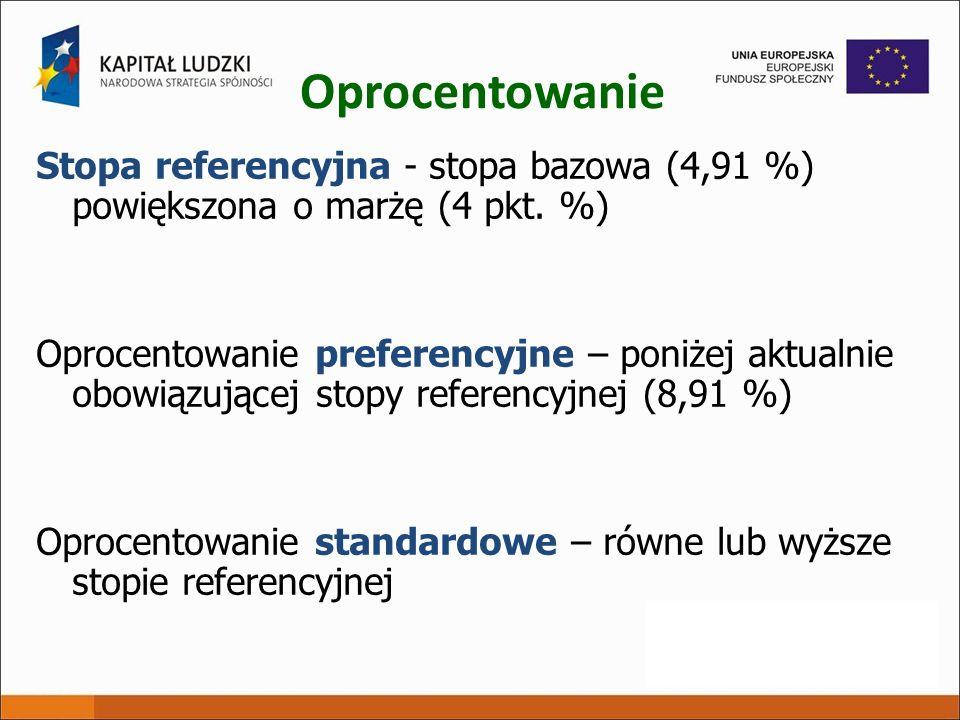 Oprocentowanie Stopa referencyjna - stopa bazowa (4,91 %) powiększona o marżę (4 pkt. %)