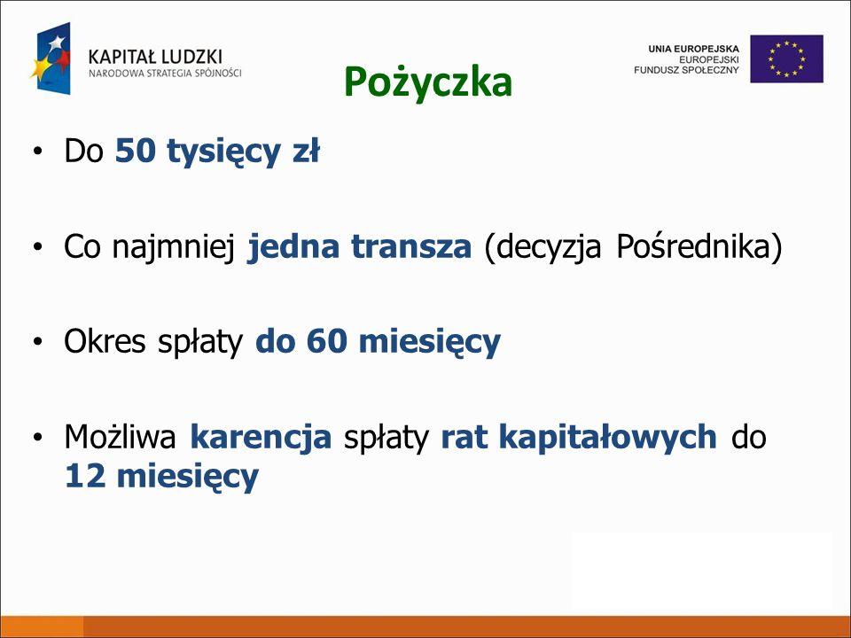 Pożyczka Do 50 tysięcy zł. Co najmniej jedna transza (decyzja Pośrednika) Okres spłaty do 60 miesięcy.