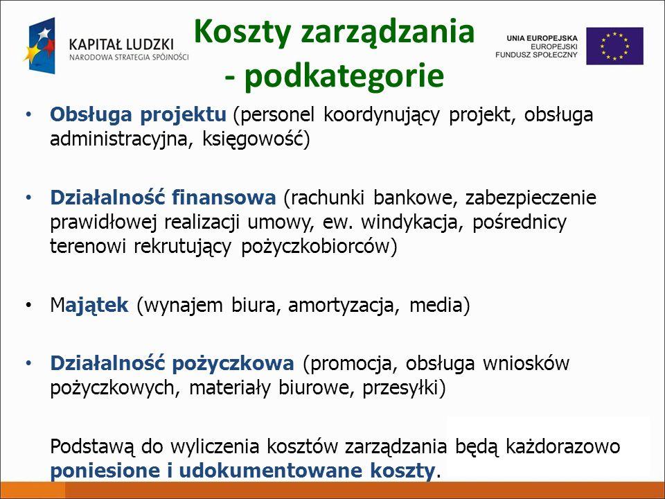 Koszty zarządzania - podkategorie