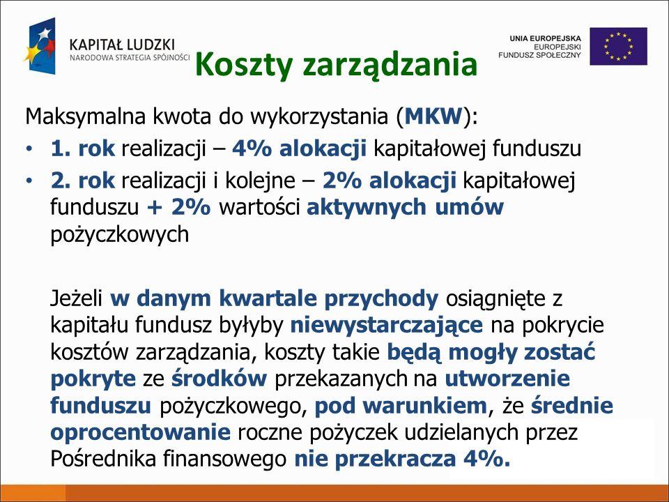 Koszty zarządzania Maksymalna kwota do wykorzystania (MKW):