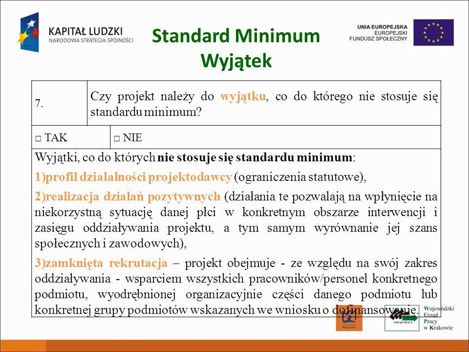 Standard Minimum Wyjątek