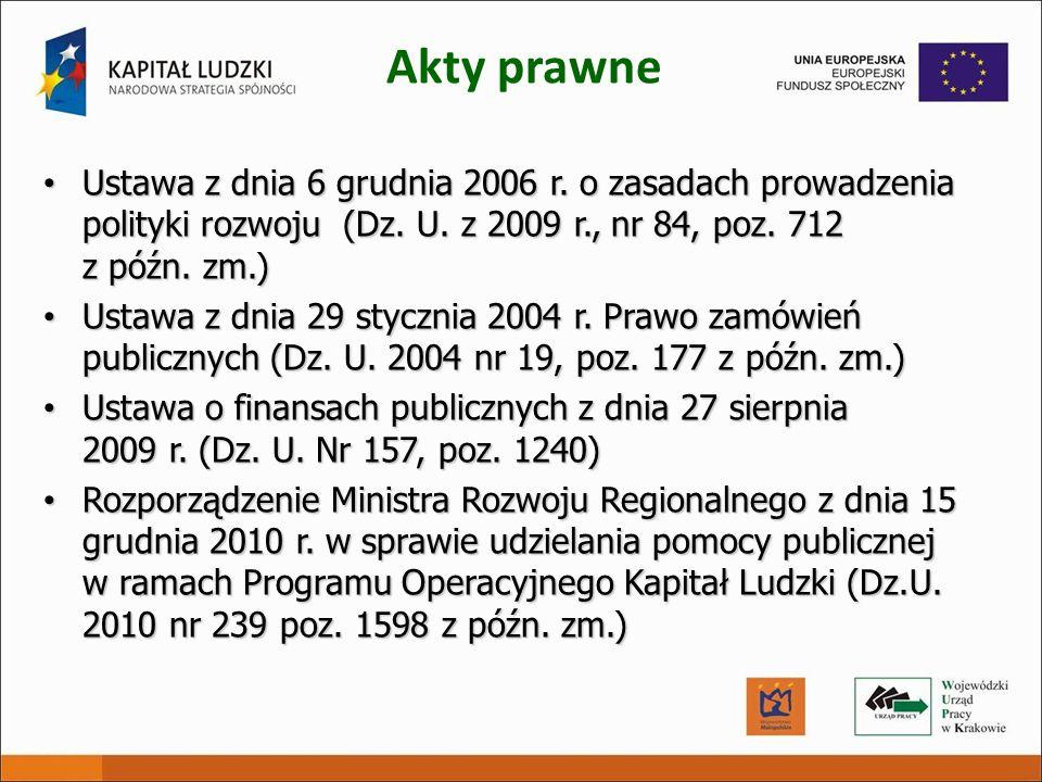 Akty prawne Ustawa z dnia 6 grudnia 2006 r. o zasadach prowadzenia polityki rozwoju (Dz. U. z 2009 r., nr 84, poz. 712 z późn. zm.)